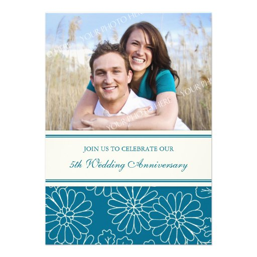 Forty Fifth Wedding Anniversary Gifts: Turquoise Floral Photo 5th Anniversary Invitation