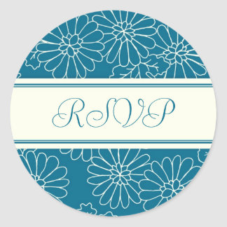 Turquoise Floral RSVP Envelope Seals Round Sticker