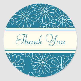 Turquoise Floral Thank You Envelope Seals Round Sticker