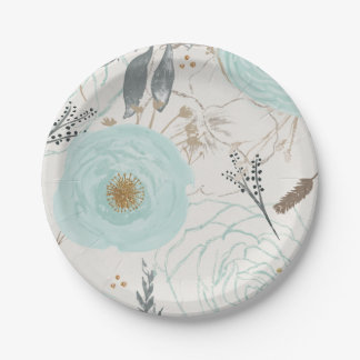 Turquoise Floral Watercolor Paper Plates