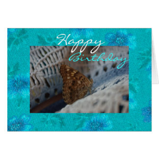 Turquoise Floral with Brown Moth Happy Birthday Card