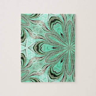 Turquoise flower pattern (K361) Jigsaw Puzzle
