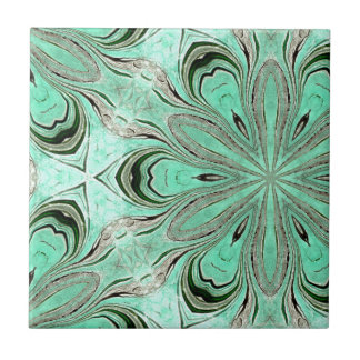 Turquoise flower pattern (K361) Small Square Tile