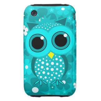 turquoise flowers and cute owl tough iPhone 3 cases