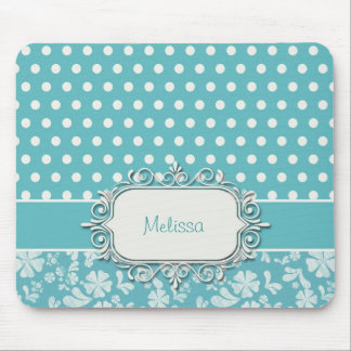 Turquoise Flowers and Polka Dots Mouse Pad