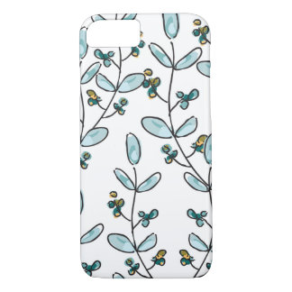 Turquoise Flowers & Vines iPhone 7 Case