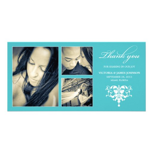 TURQUOISE FORMAL COLLAGE | WEDDING THANK YOU CARD PHOTO CARD TEMPLATE