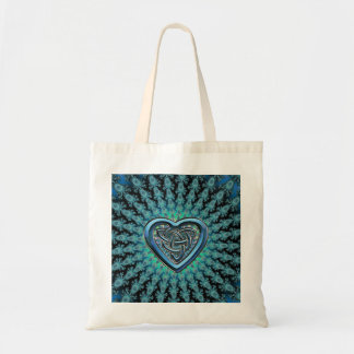 Turquoise Fractal Mandala Celtic Heart Knot Budget Tote Bag