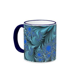 Turquoise Fractal Ringer Mug