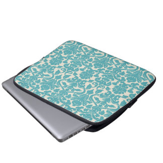 Turquoise French Damask Laptop Sleeve