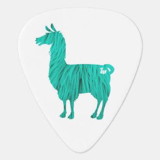 Turquoise Furry Llama Guitar Pick