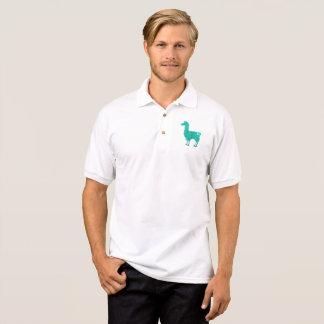 Turquoise Furry Llama Polo Shirt