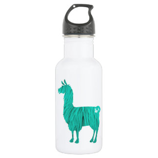 Turquoise Furry Llama Water Bottle