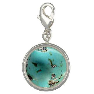 Turquoise Gemstone Image Round Charm