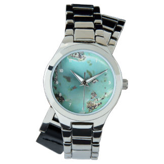 Turquoise Gemstone Image Women Silver Wrap-Around Wrist Watch