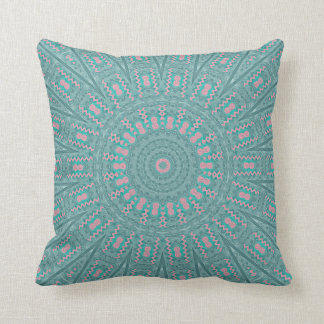 Turquoise Geometric Pink Accents Throw Pillow