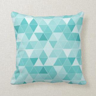 Turquoise geometric triangle pattern throw pillow