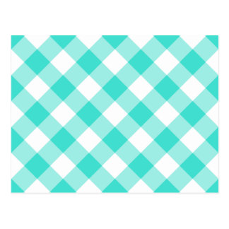 Turquoise Gingham Pattern Postcard