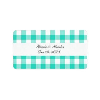 Turquoise gingham pattern wedding favors address label