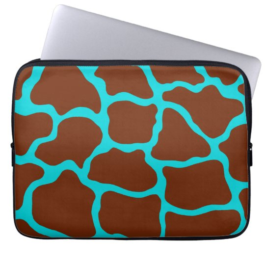 Turquoise Giraffe Print Laptop Sleeve