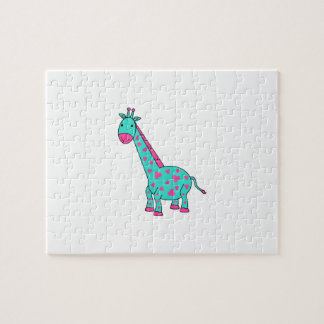Turquoise giraffe with pink hair jigsaw puzzle