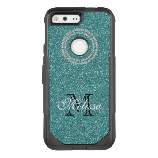 Turquoise Glitter and Diamonds, Name and Initial OtterBox Commuter Google Pixel Case