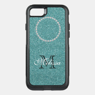 Turquoise Glitter and Diamonds, Name and Initial OtterBox Commuter iPhone 7 Case