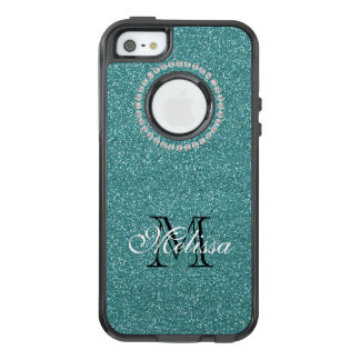 Turquoise Glitter and Diamonds, Name and Initial OtterBox iPhone 5/5s/SE Case