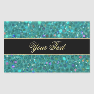 Turquoise Glitter Glam Rectangular Sticker