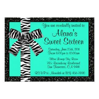 Turquoise Glitter Invite With Zebra Print Bow