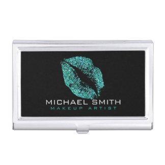 Turquoise Glitter Lips Business Card Holder