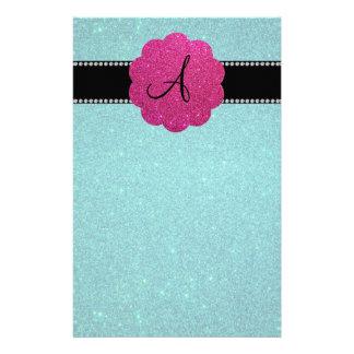 Turquoise glitter monogram diamonds pink stationery paper