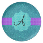 Turquoise glitter monogram plate