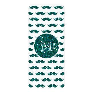 Turquoise Glitter Mustache Pattern Your Monogram 10 Cm X 24 Cm Invitation Card