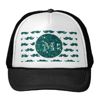 Turquoise Glitter Mustache Pattern Your Monogram Trucker Hat