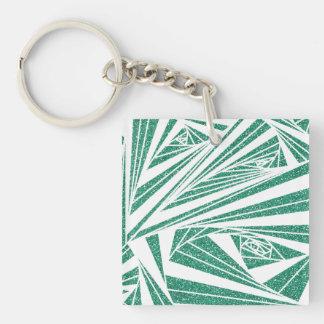 Turquoise Glitter Spiral Pattern on Keychain