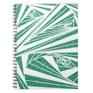 Turquoise Glitter Spiral Pattern on Notebook