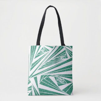 Turquoise Glitter Spiral Pattern on Tote Bag