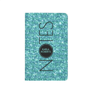 Turquoise-Glitter & Text Journals