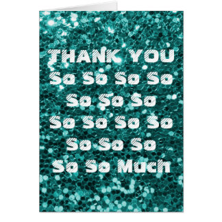 Turquoise Glitter Thank You Greeting Card