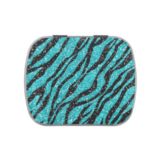 Turquoise Glitter Zebra Print Candy Tins
