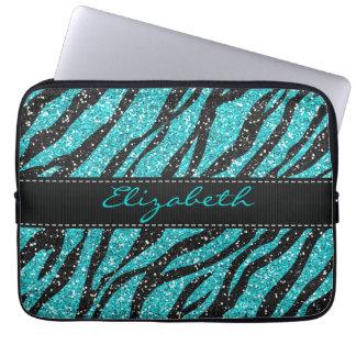 Turquoise Glitter Zebra Print Monogram Laptop Sleeve