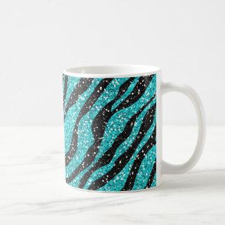Turquoise Glitter Zebra Print Coffee Mug
