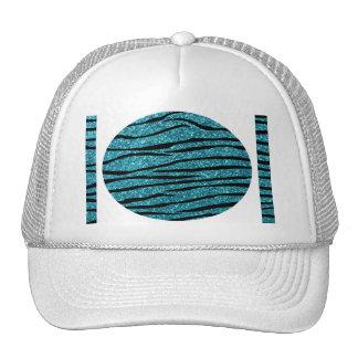 Turquoise glitter zebra stripes trucker hat