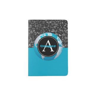 Turquoise Globe Monogrammed Black Silver Confetti Passport Holder