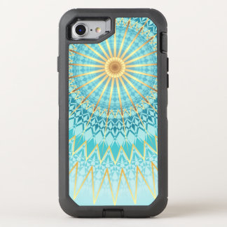 Turquoise Gold Boho Mandala OtterBox Defender iPhone 7 Case