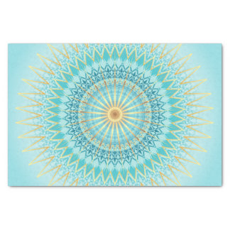 Turquoise Gold Boho Mandala Tissue Paper