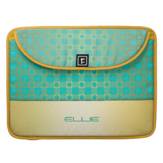 turquoise & gold checkered pattern sleeve for MacBook pro