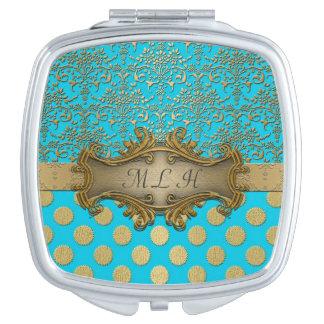 Turquoise Gold Damask Polka Dots Pattern Vanity Mirror