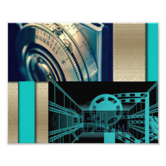 Turquoise & Gold Film & Camera Photo Print
